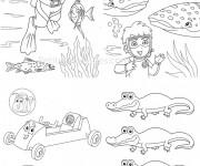 Coloriage et dessins gratuit Baleine et le petit plongeur à imprimer
