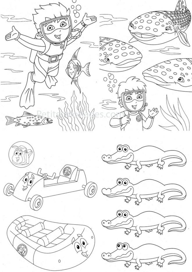 Coloriage et dessins gratuits Baleine et le petit plongeur à imprimer