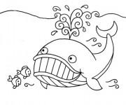 Coloriage Baleine et petits poissons