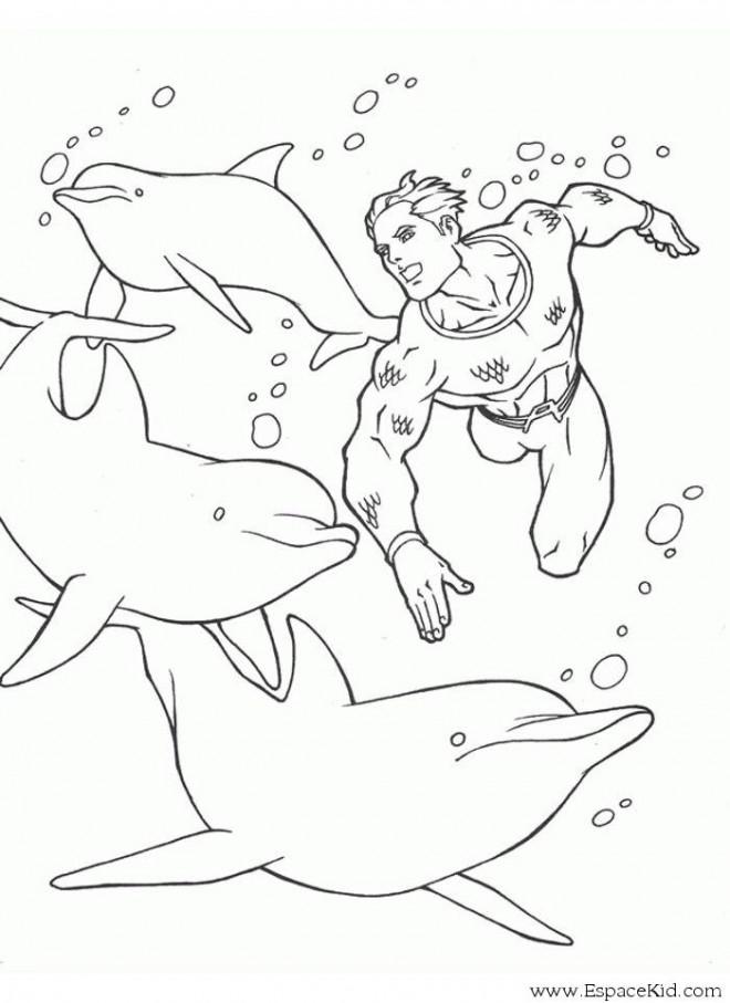 Coloriage et dessins gratuits Superman et les Dauphins à imprimer