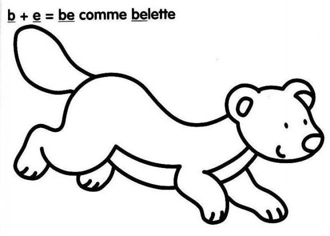 Coloriage et dessins gratuits Belette et Lettres à imprimer