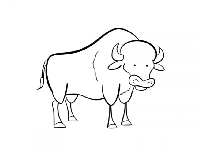Coloriage et dessins gratuits Bison humoristique à imprimer