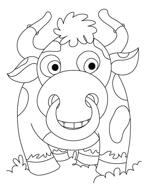 Coloriage et dessins gratuits Bison multicolor en souriant à imprimer