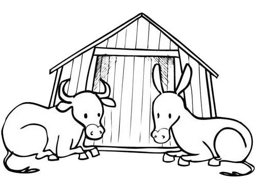 Coloriage Boeuf Et âne Dessin Gratuit à Imprimer