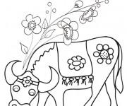 Coloriage et dessins gratuit Boeuf et fleurs à imprimer