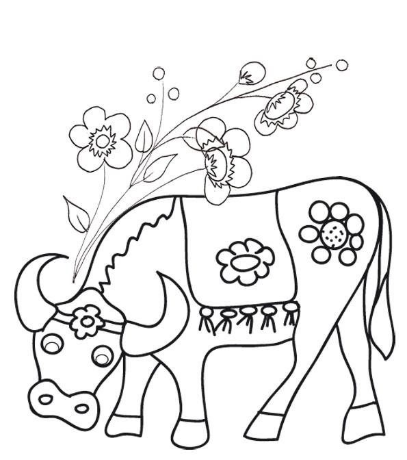 Coloriage et dessins gratuits Boeuf et fleurs à imprimer