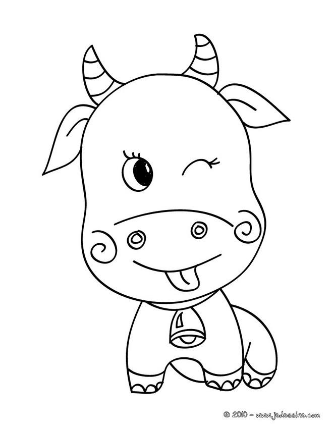 Coloriage et dessins gratuits Boeuf souriant à imprimer