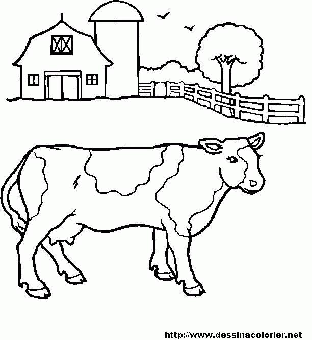 Coloriage et dessins gratuits Vache dans le pré à imprimer