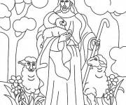 Coloriage et dessins gratuit Brebis Jésus à imprimer