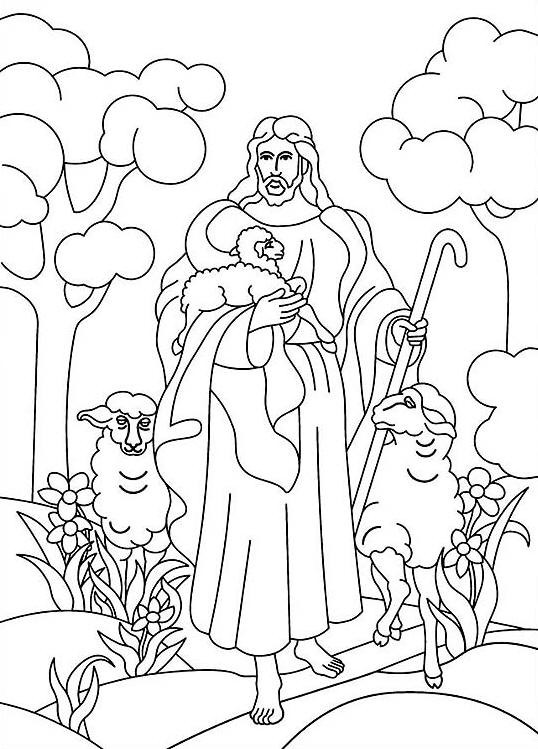 Coloriage et dessins gratuits Brebis Jésus à imprimer