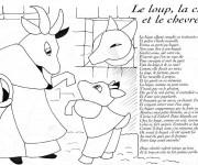 Coloriage Le Loup La chèvre et Le Chevreau