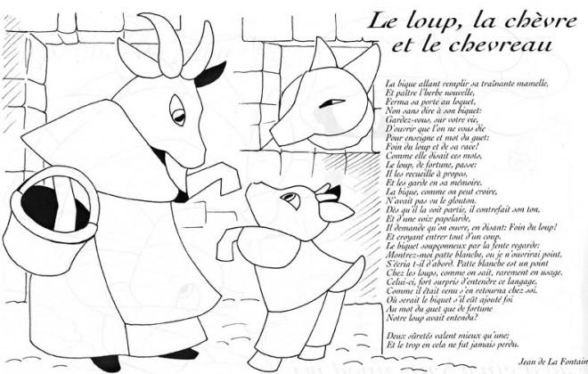 Coloriage et dessins gratuits Le Loup La chèvre et Le Chevreau à imprimer