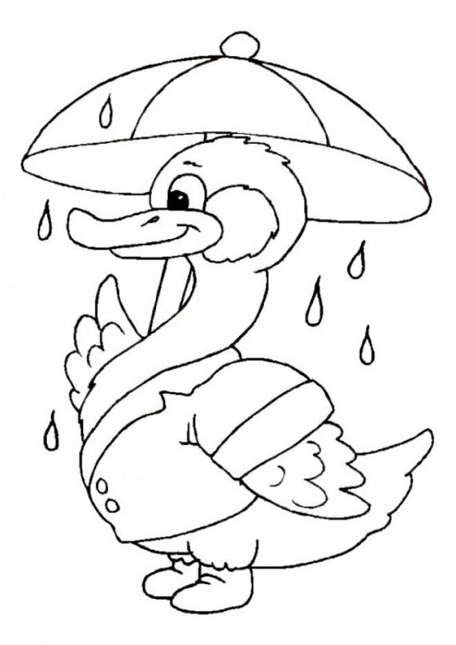 Coloriage et dessins gratuits Canard porte sa parapluie à imprimer