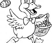 Coloriage Canard porte son panier
