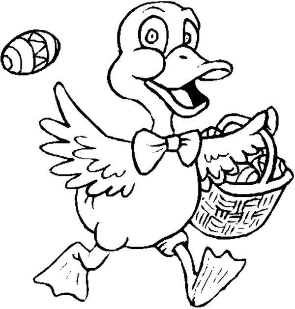 Coloriage et dessins gratuits Canard porte son panier à imprimer
