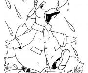 Coloriage Canard s'enfuit de la pluie