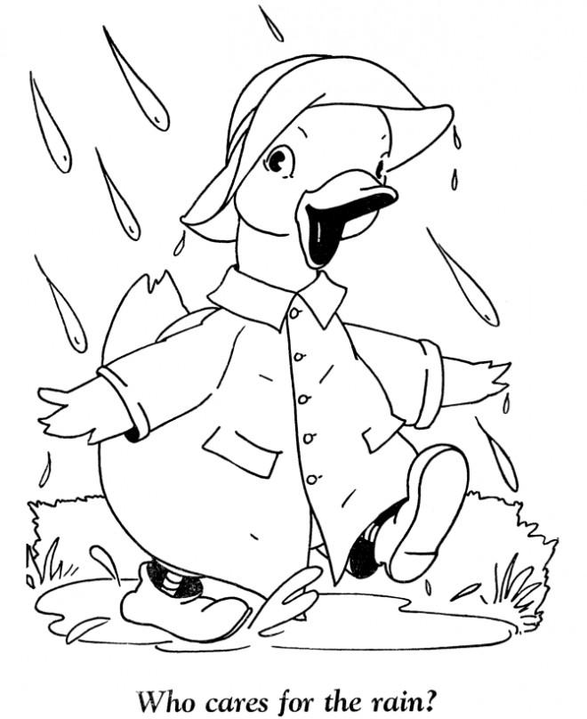 Coloriage et dessins gratuits Canard s'enfuit de la pluie à imprimer