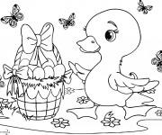 Coloriage Caneton avec le panier d'oeuf