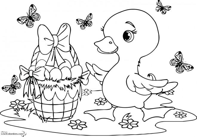 Coloriage et dessins gratuits Caneton avec le panier d'oeuf à imprimer