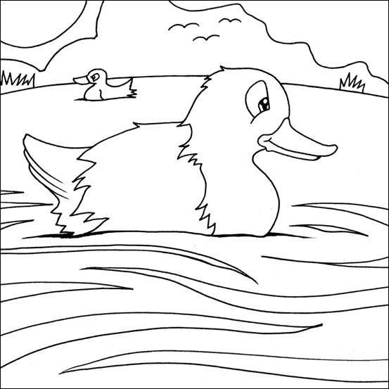 Coloriage et dessins gratuits Caneton dessin de rivière à imprimer