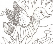 Coloriage Caneton essaie de voler