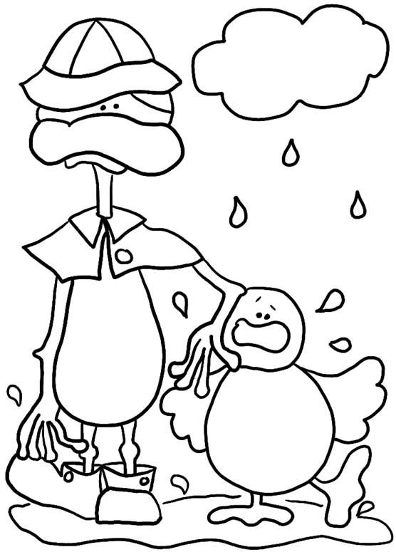 Coloriage et dessins gratuits Caneton sous la pluie  humoristique à imprimer
