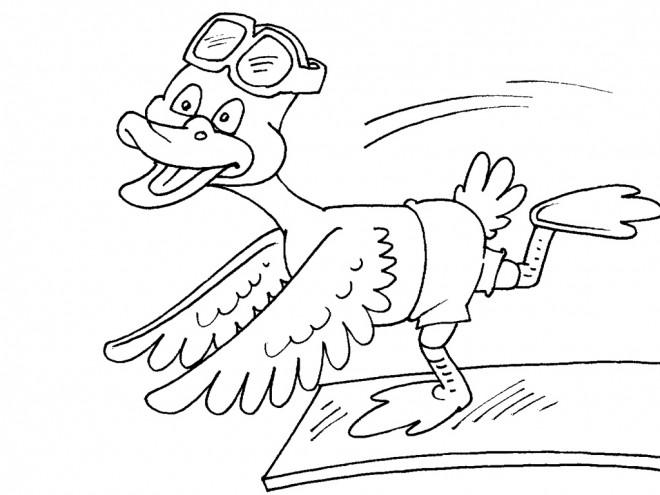 Coloriage et dessins gratuits Le canard dans le piscine à imprimer