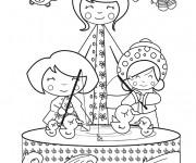 Coloriage Les enfants jouent avec leurs jouets canards