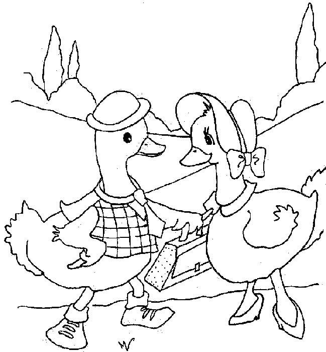 Coloriage et dessins gratuits Père et mère canard à imprimer