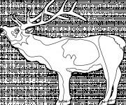 Coloriage Caribou ouvrant sa bouche