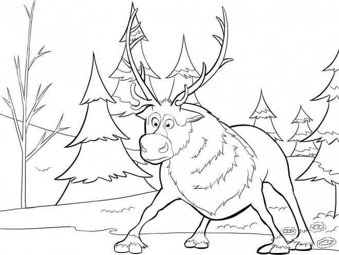 Coloriage et dessins gratuits Caribou surpris à imprimer