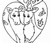 Coloriage et dessins gratuit Caribous amoureux à imprimer