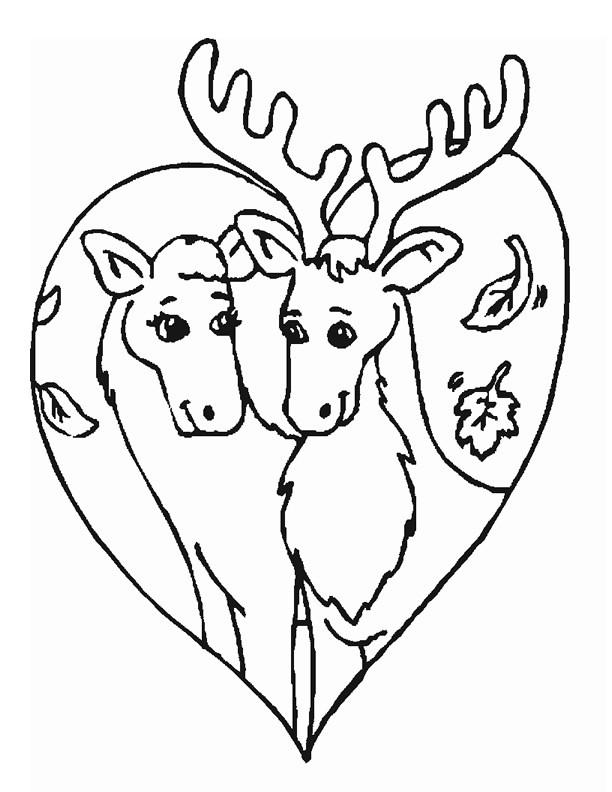 Coloriage et dessins gratuits Caribous amoureux à imprimer