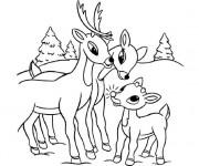 Coloriage Caribous en famille