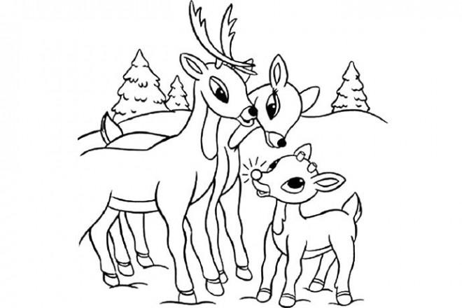 Coloriage et dessins gratuits Caribous en famille à imprimer