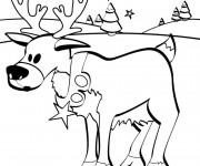 Coloriage Petit Caribou de Noël