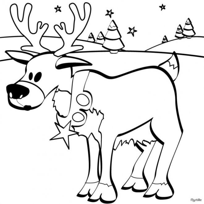 Coloriage et dessins gratuits Petit Caribou de Noël à imprimer
