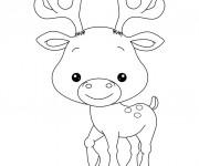Coloriage Petit Caribou souriant