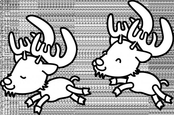 Coloriage et dessins gratuits Petits Caribous s'amusent à imprimer