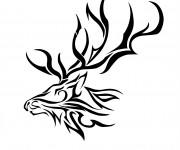 Coloriage tête de caribou vectoriel