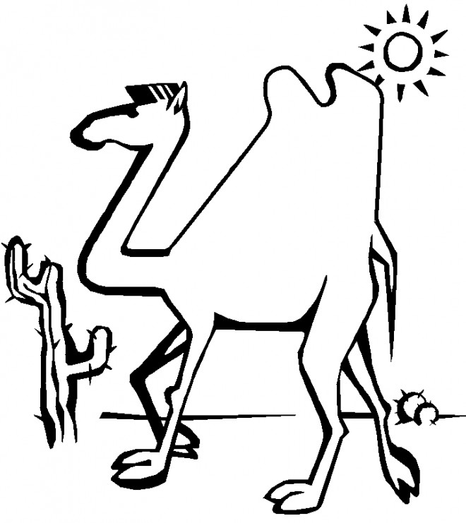 Coloriage et dessins gratuits Chameau en passant par le désert à imprimer