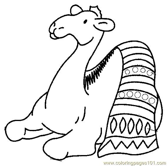 Coloriage et dessins gratuits Chameau en se reposant sur les dunes à imprimer