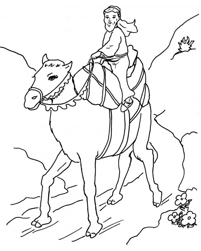 Coloriage chameau en voyage dessin gratuit imprimer - Dessiner un chameau ...