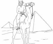 Coloriage Chameau et son maître égyptien