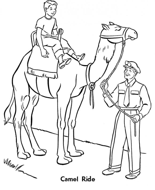 Coloriage et dessins gratuits Le pèere guide le chameau à imprimer