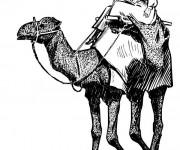 Coloriage Un arabe sur son chameau