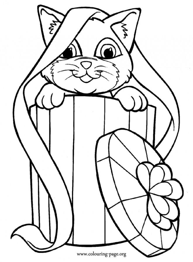 Coloriage et dessins gratuits Chat cadeau dessin à imprimer