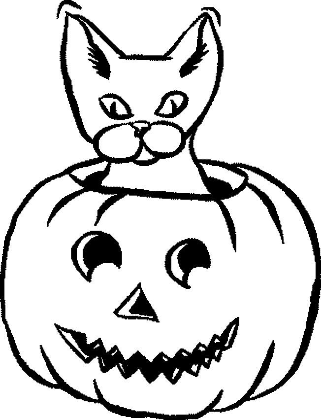 Coloriage chat citrouille de halloween dessin gratuit - Dessin chat halloween ...