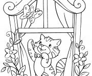 Coloriage Chat dans la fenêtre