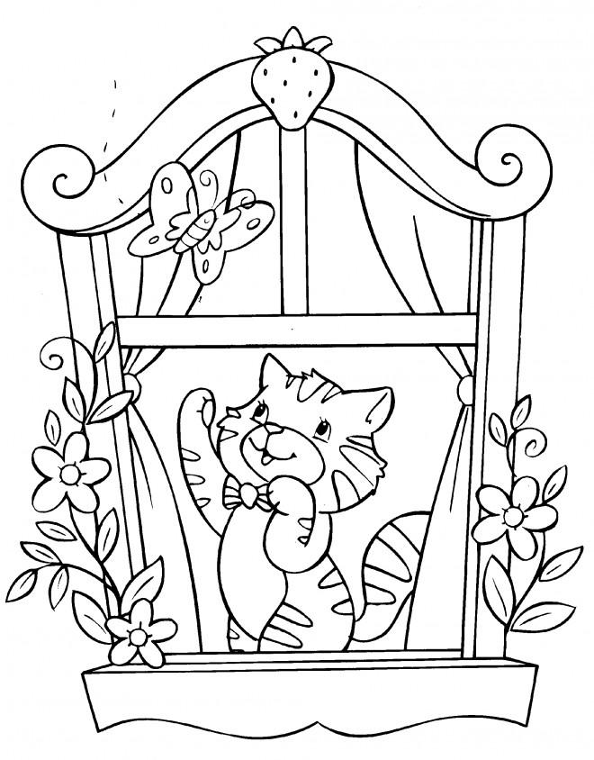 Coloriage et dessins gratuits Chat dans la fenêtre à imprimer